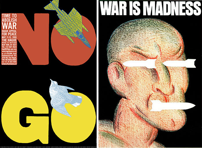 seymour-chwast-affiches-no-go-war-is-madness