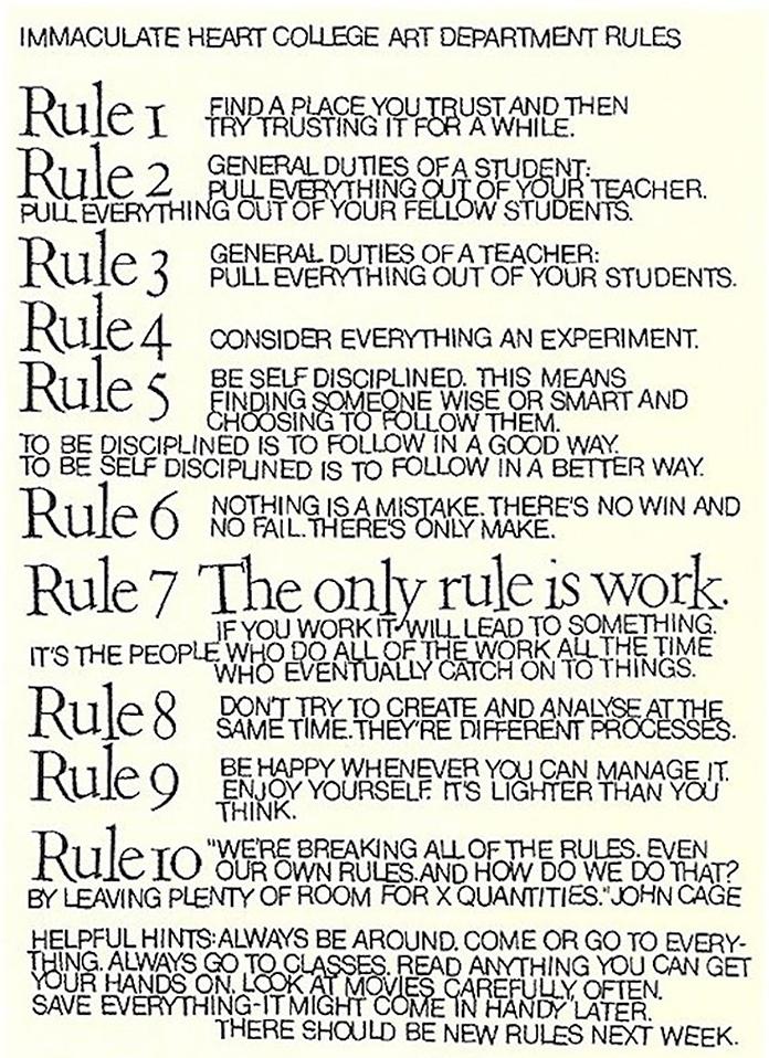 sister-corita-kent-10-regles-pedagogique