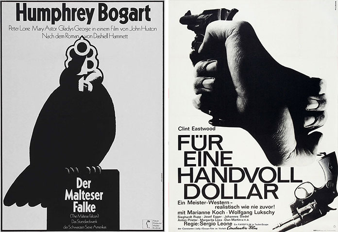hans-hillmann-affiches-film-le-faucon-maltais-1972-Fuer-eine-handvoll-Dollar-1964