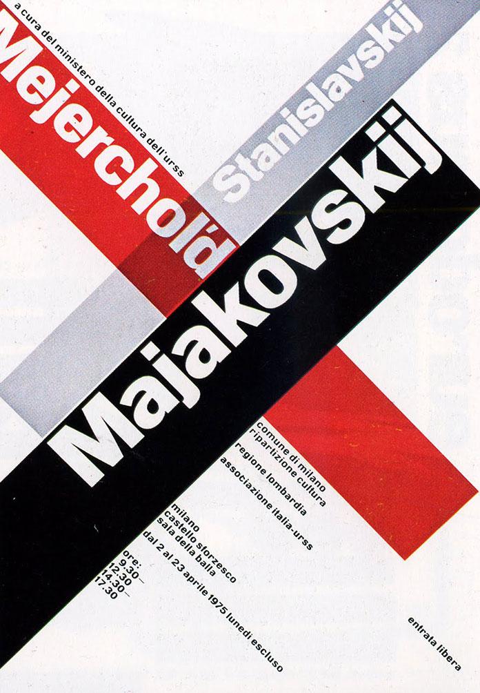 Bruno Monguzzi — Mayakovsky, Meyerhold, Stanislavsky, exhibition poster (1975)