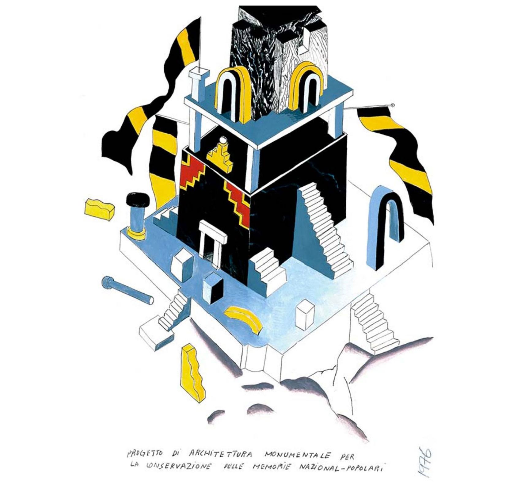 Ettore-Sottsass-Progetto-di-scuola-materna-1973-dessin