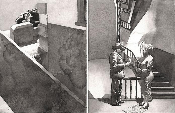 Hans_Hillmann_1982_illustration-Doppelseite_aus_Fliegenpapier