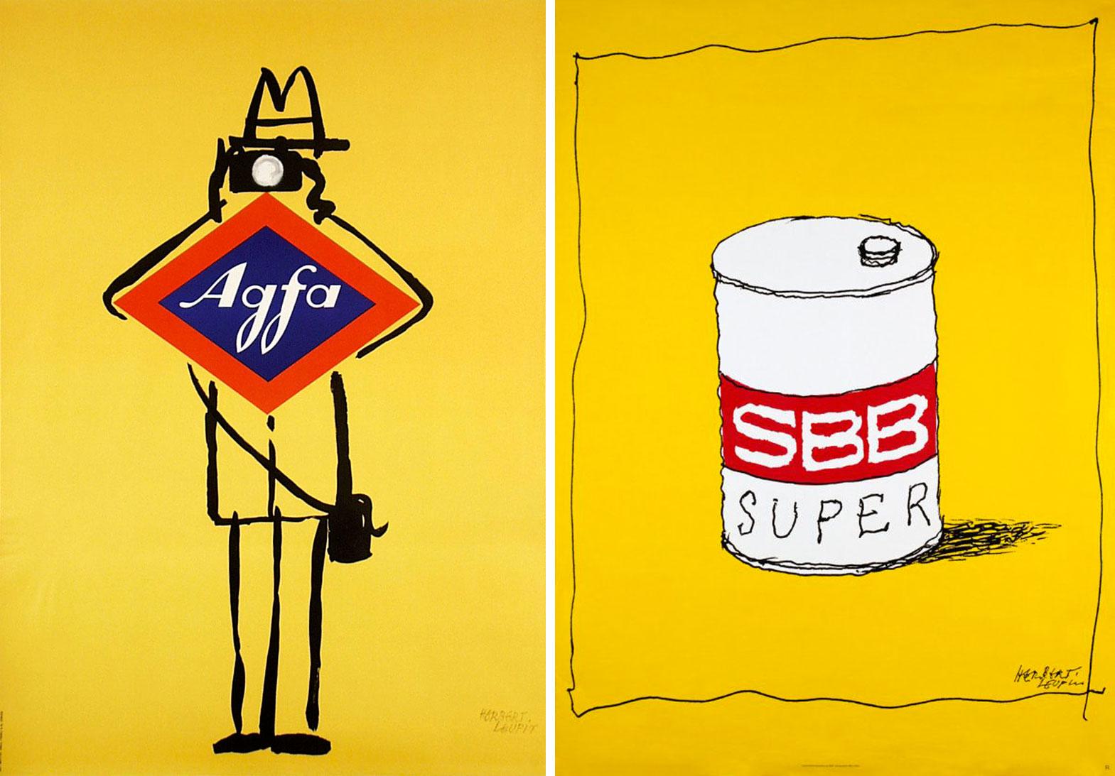 Herbert-Leupin-graphiste-CH-affiches-agfa-svv-oil-super