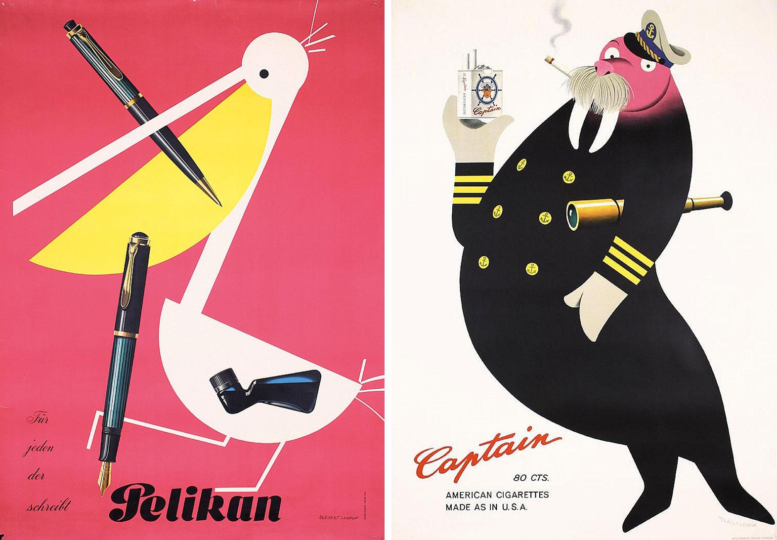 Herbert-Leupin-graphiste-CH-affiches-pelikan-captain