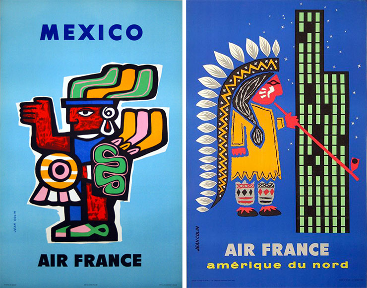 Jean-Colin-affiches-air-france-mexico-amerique-du-nord