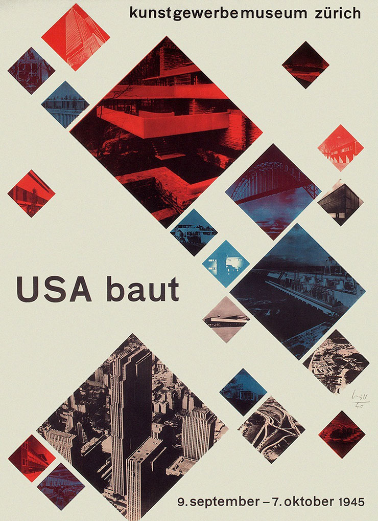 Max-Bill-affiche-exposition-americaine-USA-baut-1945