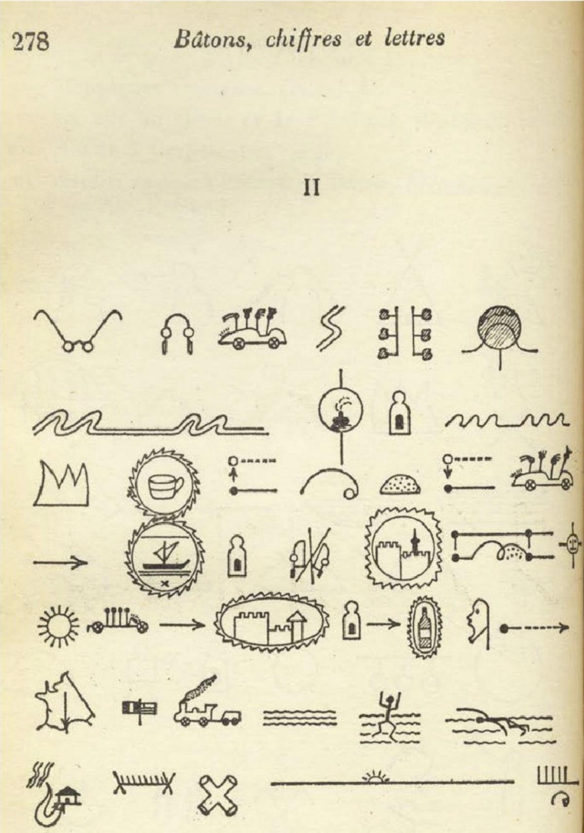 Raymond-Queneau-Narration-pictographique-batons-chiffres-et-lettres-recit-d-un-voyage-en-automobile-de-Paris-a-Cerbere-1950