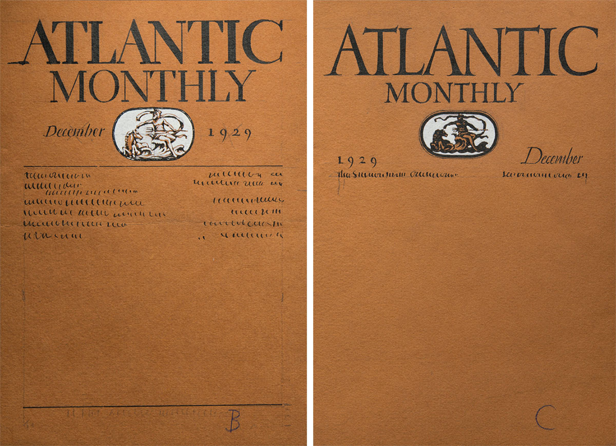 William-Addison-Dwiggins-two-comps-for-the-cover-of-Atlantic-Monthly-1929,