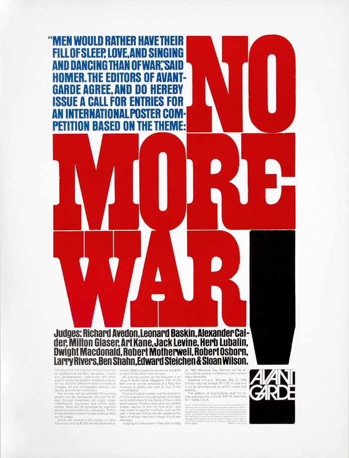 avant-garde-magazine-herbert-lubalin-no-more-war-couverture-1967