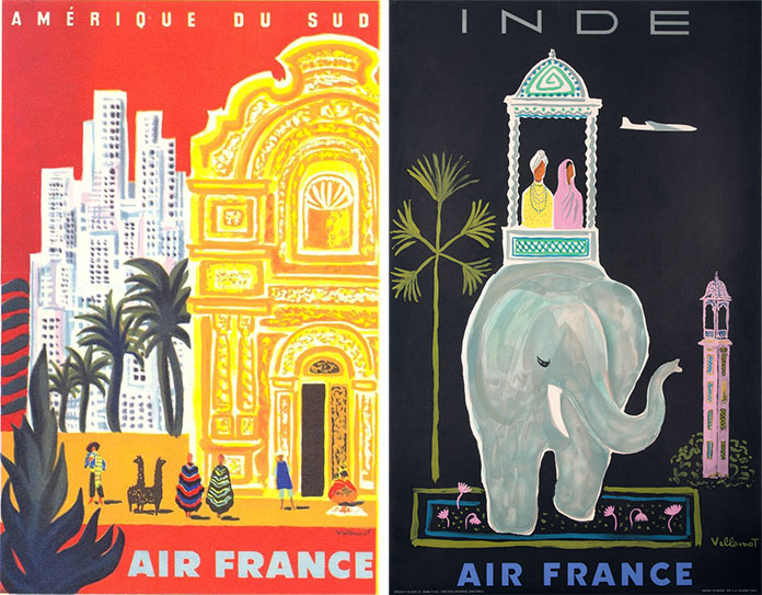 bernard-villemot-air-france-amerique-du-sud-1959-inde-1956