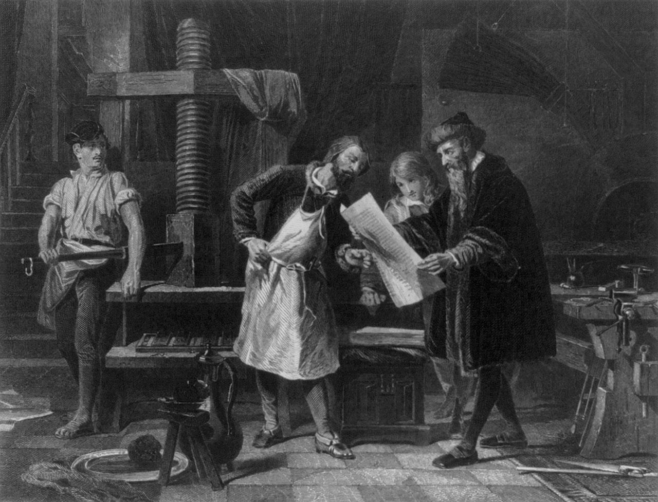 Johannes Gutenberg invente la presse à imprimer